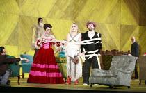 ORFEO   by Monteverdi   conductor: Christopher Moulds   director: Christopher Alden <br>,centre, l-r: Ann Taylor (Prosperina / La Messagiera), Anna St�phany (Euridice / Speranza), Paul Nilon (Orfeo),O...