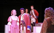 """THE SOLDIER""""S FORTUNE   by Thomas Otway   director: David Lan <br>,l-r: Anne-Marie Duff (Lady Dunce), Ray Fearon (Captain Beaugard), Kananu Kirimi (Sylvia), Alec Newman (Courtine), (back to camera) Ol..."""