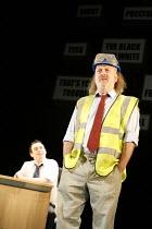 PINTER'S PEOPLE   by Harold Pinter   director: Sean Foley  ~TROUBLE IN THE WORKS ~l-r: Kevin Eldon (Fibbs), Bill Bailey (Wills) ~Theatre Royal Haymarket, London SW1         01/02/2007              ,