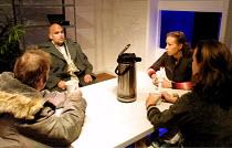 'ACTION' (Shepard)~l-r: Nicolas Tennant (Shooter), John Sharian (Jeep), Nicola Ratcliffe (Lupe), Isabel Pollen (Liza)~Young Vic Studio, London SE1   25/07/2001