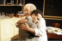 'ALBERT'S BOY' (by James Graham - director: Max Lewendel),l-r: Victor Spinetti (Albert Einstein), Gerard Monaco (Bucky),Finborough Theatre, London SW10       21/07/2005,
