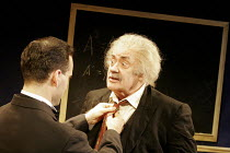 'ALBERT'S BOY' (by James Graham - director: Max Lewendel),l-r: Gerard Monaco (Bucky), Victor Spinetti (Albert Einstein),Finborough Theatre, London SW10       21/07/2005,