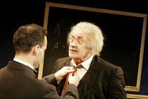 'ALBERT'S BOY' (by James Graham - director: Max Lewendel),l-r: Gerard Monaco (Bucky), Victor Spinetti (Albert Einstein),Finborough Theatre, London SW10       21/07/2005,