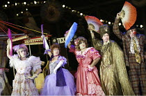 'CINDERELLA' (director: Dan Jemmett)~l-r: Antonio Gil Martinez (Ugly Sister), Di Sherlock (Stepmother), John Ramm (Ugly Sister), Geoffrey Carey (Madame Zarastro), Bob Goody (Frank)~Lyric Hammersmith,...