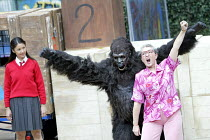 'GRANNY AND THE GORILLA'~l-r: Anita Koh (Nina), Oliver Parham (Shinda), Janet Jefferies (Granny)~Open Air Theatre / Regent's Park, London NW1            01/08/2003