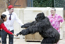 'GRANNY AND THE GORILLA'~l-r: Anita Koh (Nina), Ross Sutherland (Mick), Oliver Parham (Shinda), Janet Jefferies (Granny)~Open Air Theatre / Regent's Park, London NW1            01/08/2003