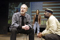 'DAUGHTERS OF THE REVOLUTION' ('CONTINENTAL DIVIDE') (David Edgar - director: Tony Taccone)~l-r: Terry Leyman (Michael Bern), Vilma Silva (Yolande), Derrick Lee Weeden (Kwesi Ntuli)~Berkeley Theatre C...