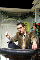 A DAY IN THE DEATH OF JOE EGG  by Peter Nichols  design: Es Devlin  lighting: Adam Silverman  director: Laurence Boswell  ~Clive Owen (Bri), Victoria Hamilton (Sheila)~New Ambassadors Theatre, London...