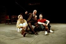 'DEATH OF A SALESMAN' (Miller)~l-r: Douglas Rao (Happy), David Ross (Willy Loman), Paul Barnhill (Biff)~Birmingham Repertory Theatre, England  03/03/2000