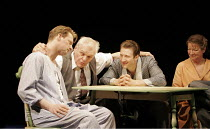 'DEATH OF A SALESMAN' (Arthur Miller - director: Robert Falls),l-r: Douglas Hensall (Biff Loman), Brian Dennehy (Willy Loman), Mark Bazeley (Happy Loman), Clare Higgins (Linda Loman),Lyric Theatre, Lo...
