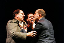 'DEATH OF A SALESMAN' (Arthur Miller - director: David Thacker)~l-r: Alun Armstrong (Willy Loman), Corey Johnson (Happy), Mark Strong (Biff)~Lyttelton Theatre / National Theatre, London            31/...