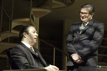 'DEMOCRACY' (Michael Frayn - director: Michael Blakemore)~l-r: Roger Allam (Willy Brandt), Conleth Hill (GUnter Guillaume)~Wyndham's Theatre, London WC2  20/04/2004    (original production: National T...