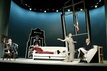 'DESIGN FOR LIVING' (No'l Coward)   (director: Peter Hall)~l-r: Aden Gillett (Leo), Hugo Speer (Otto), Janie Dee (Gilda), William Chubb (Ernest)~The Peter Hall Company / Theatre Royal, Bath   England...