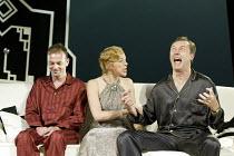 'DESIGN FOR LIVING' (Noel Coward)   (director: Peter Hall)~l-r: Hugo Speer (Otto), Janie Dee (Gilda), Aden Gillett (Leo)~The Peter Hall Company / Theatre Royal, Bath   England                  09/07/2...