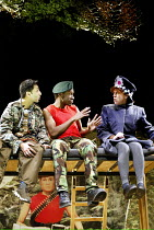 'DIARY OF AN ACTION MAN' (Kenny)~l-r: Amit Sharma (Ezra), David Ellington (Dad), Karen Spicer (Little Girl)~Graeae Theatre Company & Unicorn / Stratford Circus, London E15                15/02/2003