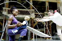 'DIDO, QUEEN OF CARTHAGE' (Marlowe - 'Master of Play': Tim Carroll)   2003 Season of Regime Change~Rakie Ayola (Dido), James Garnon (Cupid)~Shakespeare's Globe, London SE1           20/06/2003
