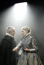 'DON CARLOS' (Schiller - translated by Mike Poulton   director: Michael Grandage)~l-r: Derek Jacobi (King Philip II of Spain), Claire Price (Queen Elizabeth)~Crucible Theatre / Sheffield, England    0...