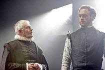 'DON CARLOS' (Schiller - translated by Mike Poulton   director: Michael Grandage),l-r: Derek Jacobi (King Philip II of Spain), Elliot Cowan (Marquis of Posa) ,Sheffield Crucible Theatre production...