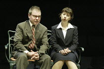 'DROWNING ON DRY LAND' (written & directed by Alan Ayckbourn)~Paul Kemp (Simeon), Sarah Moyle (Marsha)~Stephen Joseph Theatre / Scarborough, England           04/05/2004