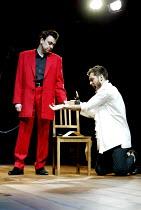 DOCTOR FAUSTUS  by Christopher Marlowe  design: Richard Hudson  lighting: Matthew Richardson  choreography: Kate Flatt  director: David Lan   l-r: Richard McCabe (Mephistophilis), Jude Law (Faustus)...