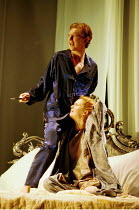 THE DUCHESS OF MALFI  by John Webster  set design: Peter J Davison  costumes: Sue Willmington  lighting: Mark McCullough  director: Gale Edwards   Colin Tierney (Ferdinand, Duke of Calabria), Aisling...