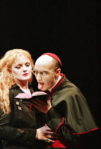 THE DUCHESS OF MALFI  by John Webster  design: Nick Ormerod  director: Declan Donnellan ~Nicola Redmond (Julia), Paul Brennan (Cardinal)~Cheek by Jowl / Wyndham's Theatre, London WC2  02/01/1996~(c) D...