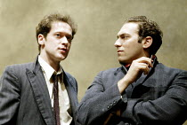 'THE DWARFS' (Harold Pinter/adapted by Kerry Lee Crabbe/directed by Christopher Morahan)~l-r: Jamie Lee (Pete), Ben Caplan (Mark)~Tricycle Theatre, London NW6                23/04/2003