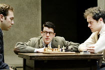 'THE DWARFS' (Harold Pinter/adapted by Kerry Lee Crabbe/directed by Christopher Morahan)~l-r: Ben Caplan (Mark), Mark Rice-Oxley (Len), Jamie Lee (Pete)~Tricycle Theatre, London NW6                23/...
