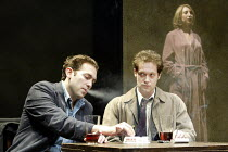 'THE DWARFS' (Harold Pinter/adapted by Kerry Lee Crabbe/directed by Christopher Morahan)~l-r: Ben Caplan (Mark), Jamie Lee (Pete), Daisy Haggard (Virginia)~Tricycle Theatre, London NW6...