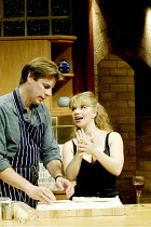 'DAMSELS IN DISTRESS' (Ayckbourn)~'FlatSpin': l-r  Bill Champion (Sam Berryman), Alison Pargeter (Rosie Seymore)~Duchess Theatre, London WC2                07/09/2002
