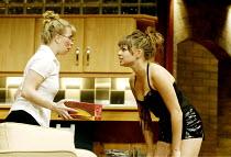 'DAMSELS IN DISTRESS' (Ayckbourn)~'GamePlan': l-r Alison Pargeter (Kelly Butcher), Saskia Butler (Sorrel Saxon)~Duchess Theatre, London WC2                07/09/2002