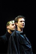 'EDWARD II' (Marlowe)~l-r: Joseph Fiennes (Edward II), James D'Arcy (Gaveston)~Crucible Theatre, Sheffield  13/03/2001