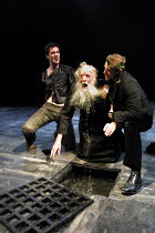 'EDWARD II' (Marlowe)~Gaveston and Edward punish the Bishop of Coventry~l-r: James D'Arcy (Gaveston), Leader Hawkins (Bishop of Coventry), Joseph Fiennes (Edward II)~Crucible Theatre, Sheffield  13/03...