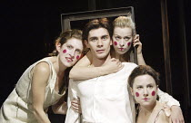 'ELECTRA' (Jean Giraudoux, after Sophocles & Euripedes - director: Erica Whyman)~Ben Silverstone (Orestes) with Furies (l-r: Rebecca Peyton, Cora Bisset, Cordelia Rayner)~Gate Theatre, London W11...