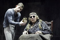 'ENDGAME' (Samuel Beckett - director: Matthew Warchus   design: Rob Howell)~l-r: Lee Evans (Clov), Michael Gambon (Hamm)~Albery Theatre, London WC2                10/03/2004
