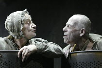 'ENDGAME' (Samuel Beckett - director: Matthew Warchus   design: Rob Howell)~Liz Smith (Nell), Geoffrey Hutchings (Nagg)~Albery Theatre, London WC2                10/03/2004