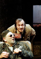 'ENDGAME' (Beckett: director - Katie Mitchell)~front: Alun Armstrong (Hamm)   rear: Stephen Dillane (Clov)~Donmar Warehouse, London WC2             04/1996