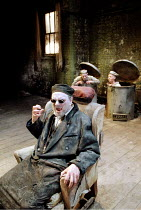 'ENDGAME' (Beckett: director - Katie Mitchell)~foreground: Alun Armstrong (Hamm) with Harry Jones (Nagg), Eileen Nicholas (Nell)~Donmar Warehouse, London WC2             04/1996