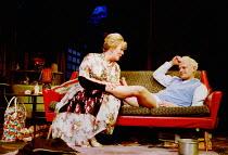 ENTERTAINING MR SLOANE  by Joe Orton  design: William Dudley  lighting: Simon Corder  director: Terry Johnson ~Alison Steadman (Kath), Neil Stuke (Mr Sloane)~Arts Theatre, London WC2  22/01/2001~(c) D...