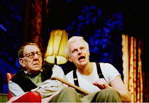 ENTERTAINING MR SLOANE  by Joe Orton  design: William Dudley  lighting: Simon Corder  director: Terry Johnson ~l-r: Bryan Pringle (Kemp), Neil Stuke (Mr Sloane)~Arts Theatre, London WC2  22/01/2001~(c...