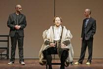 FAUSTUS  by Christopher Marlowe and other hands  director: Rupert Goold ~l-r: Richard Katz (Dinos Chapman), Scott Handy (Dr John Faustus), Martin Savage (Jake Chapman)~Theatre Royal Northampton, Engla...