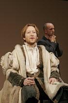 FAUSTUS  by Christopher Marlowe and other hands  director: Rupert Goold  ~l-r: Scott Handy (Dr John Faustus), Martin Savage (Jake Chapman) ~Theatre Royal Northampton, England  02/11/2004