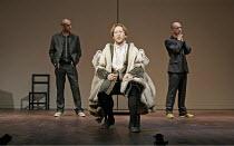 FAUSTUS  by Christopher Marlowe and other hands  director: Rupert Goold   ~l-r: Richard Katz (Dinos Chapman), Scott Handy (Dr John Faustus), Martin Savage (Jake Chapman)~Theatre Royal Northampton, Eng...