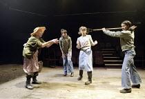 'FEN' (Caryl Churchill - director: Simon Cox)~l-r: Cherry Morris (Nell), Kirsty Bushell (Shona), Valerie Lilley (Deb), Kathryn Drysdale (Becky)~Sheffield Studio (Crucible)                      02/06/2...