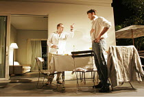 'FORTY WINKS' (Kevin Elyot   director: Katie Mitchell),l-r: Stephen Kennedy (Danny), Dominic Rowan (Don),Jerwood Theatre Downstairs / Royal Court Theatre, London SW1   03/110/2004,
