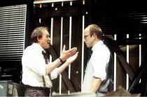 l-r: James Bolam (Shelly Levene), William Armstrong (John Williamson) in GLENGARRY GLEN ROSS by David Mamet at the Donmar Warehouse, London WC2  22/06/1994  design: Johann Engels  director: Sam Mende...