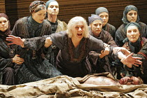 'HECUBA' (Euripedes, in a new version by Tony Harrison - director: Laurence Boswell),centre: Vanessa Redgrave (Hecuba) with the Chorus and body of Polydorus (Matthew Douglas),Royal Shakespeare Company...