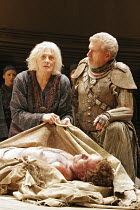 'HECUBA' (Euripedes, in a new version by Tony Harrison - director: Laurence Boswell),Vanessa Redgrave (Hecuba), Malcolm Tierney (Agamemnon) with the body of Polydorus (Matthew Douglas) ,Royal Shakespe...