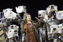 'HIS DARK MATERIALS' (Philip Pullman, adapted by Nicholas Wright - director: Nicholas Hytner)~Part 1 - Bear Celebration: Anna Maxwell Martin (Lyra Belacqua)with bears~Olivier Theatre / National Theatr...
