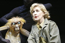 'HIS DARK MATERIALS' (Philip Pullman, adapted by Nicholas Wright - director: Nicholas Hytner)~Part 2 - Witches Camp: Patricia Hodge (Mrs Coulter) with The Golden Monkey (her daemon)~Olivier Theatre /...